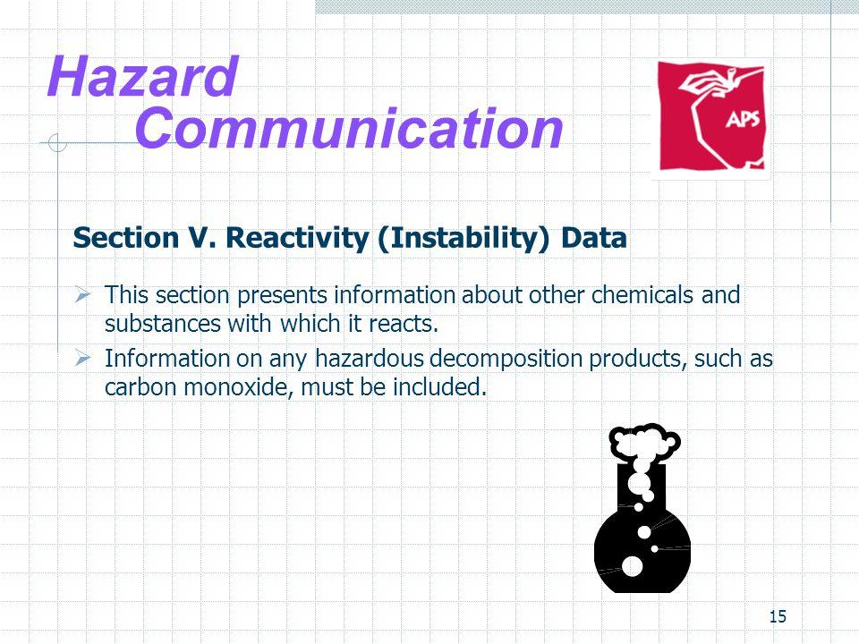 Hazard Communication Section V. Reactivity (Instability) Data