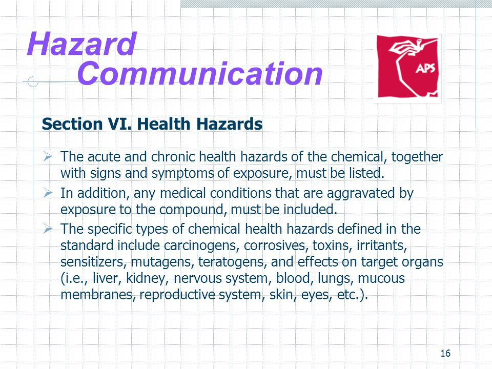 Hazard Communication Section VI. Health Hazards