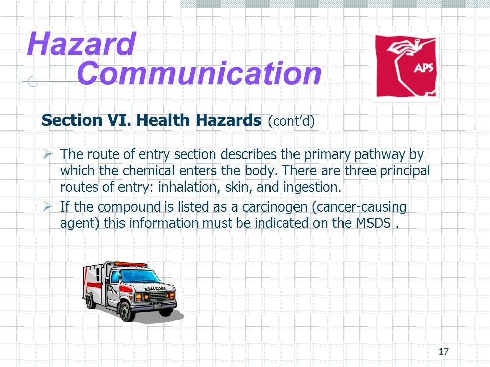 Hazard Communication Section VI. Health Hazards (cont'd)
