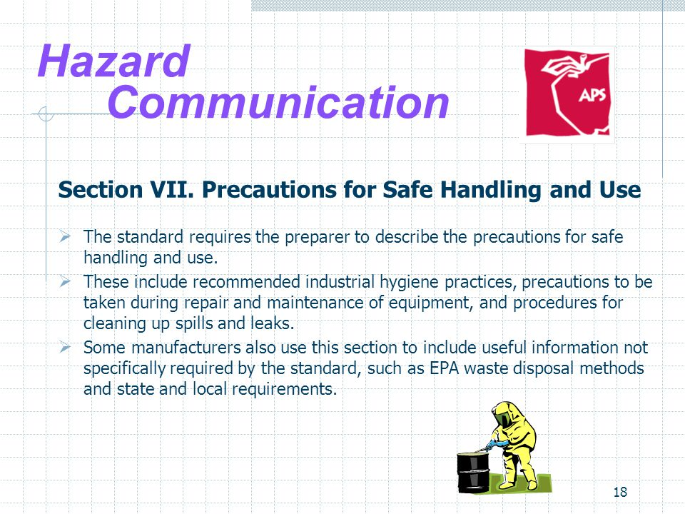 Hazard Communication Section VII. Precautions for Safe Handling and Use.