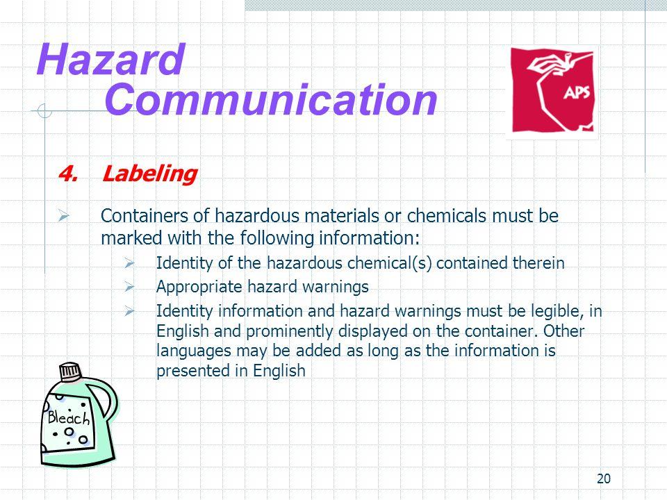 Hazard Communication 4. Labeling