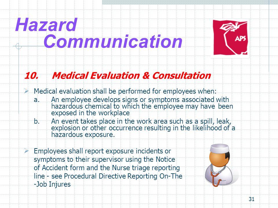 Hazard Communication 10. Medical Evaluation & Consultation