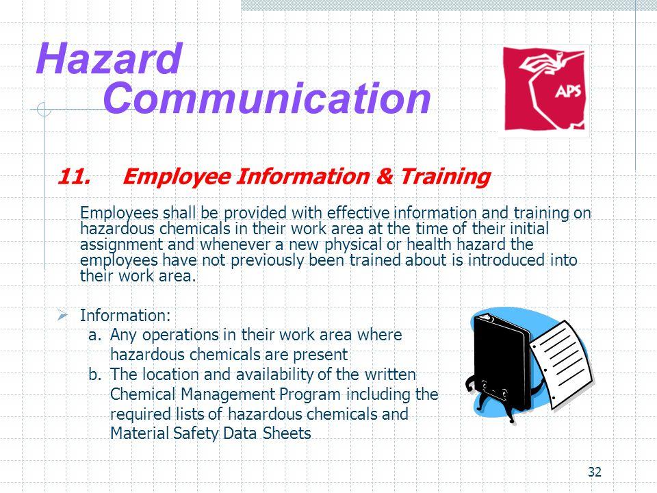 Hazard Communication 11. Employee Information & Training