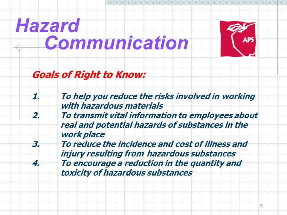 Hazard Communication Goals of Right to Know: