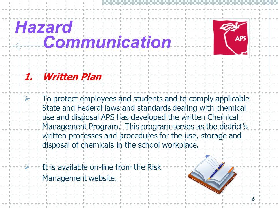 Hazard Communication 1. Written Plan