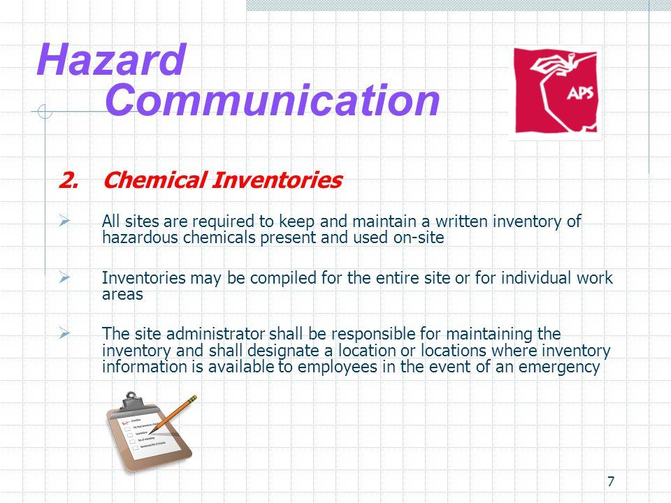 Hazard Communication 2. Chemical Inventories