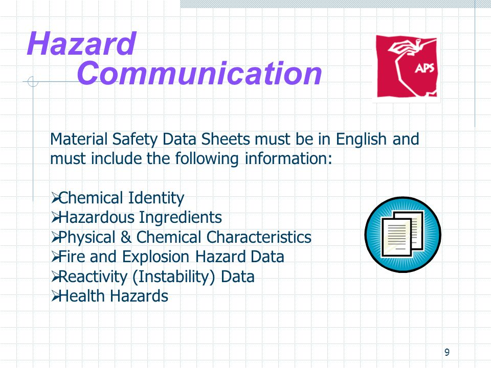 Site Safety Teams 4/1/2017. Hazard Communication. Material Safety Data Sheets must be in English and must include the following information: