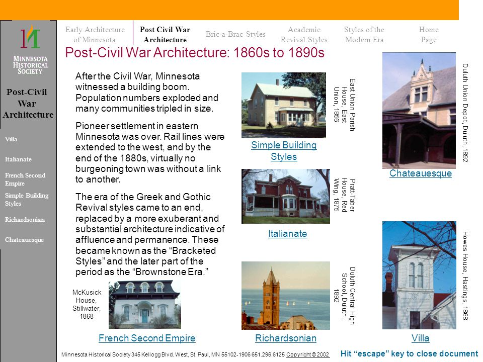 Post-Civil War Architecture: 1860s to 1890s