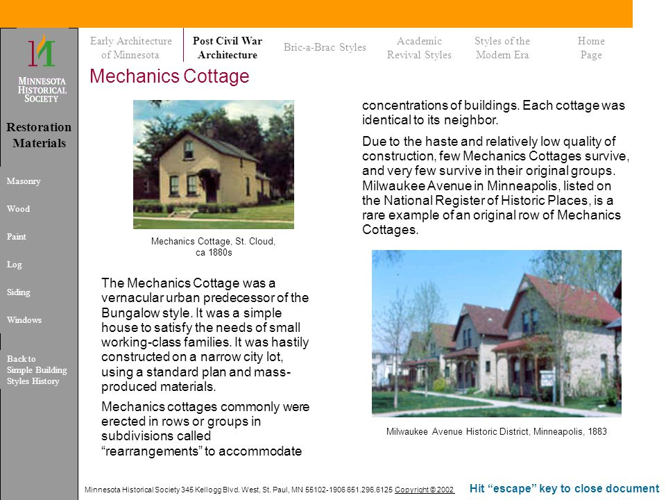 Early Architecture of Minnesota. Post Civil War. Architecture. Bric-a-Brac Styles. Academic. Revival Styles.