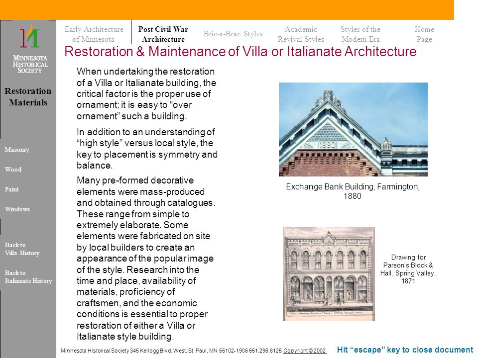 Restoration & Maintenance of Villa or Italianate Architecture