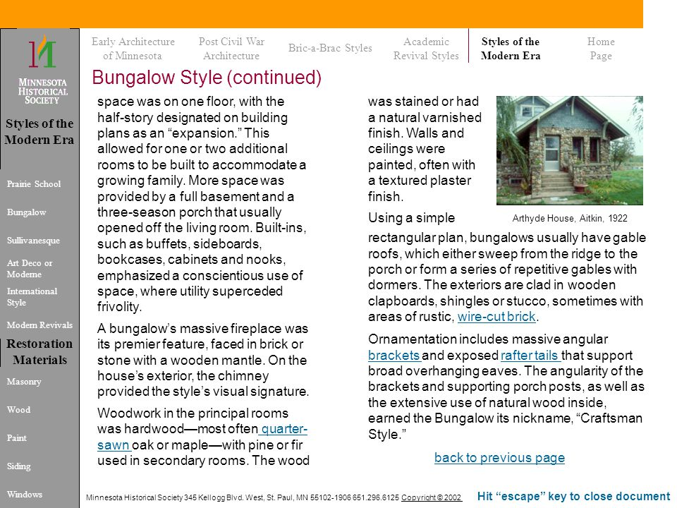 Bungalow Style (continued)