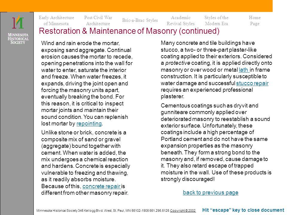 Restoration & Maintenance of Masonry (continued)