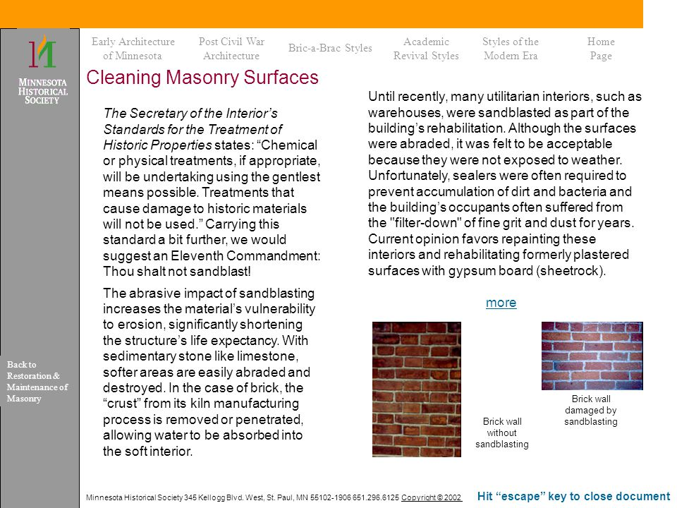 Cleaning Masonry Surfaces