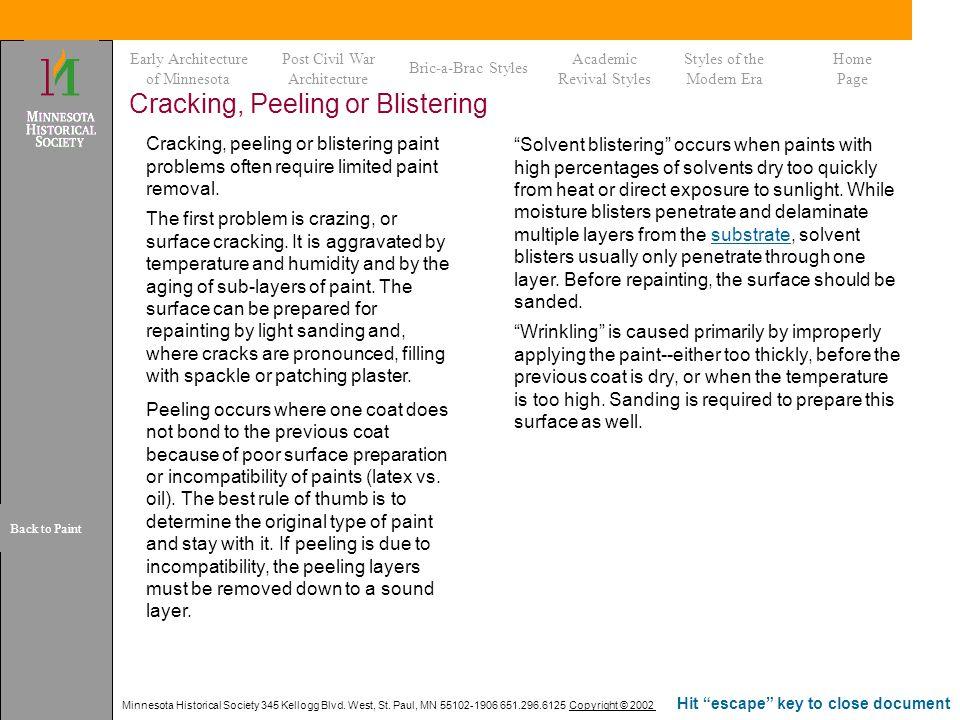 Cracking, Peeling or Blistering