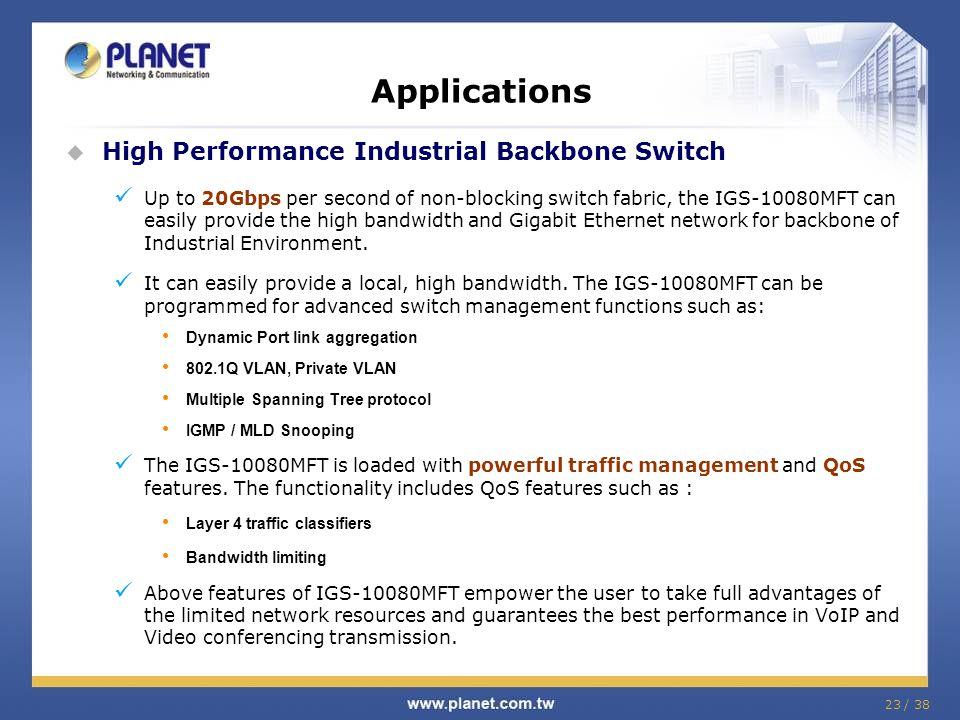 Applications High Performance Industrial Backbone Switch