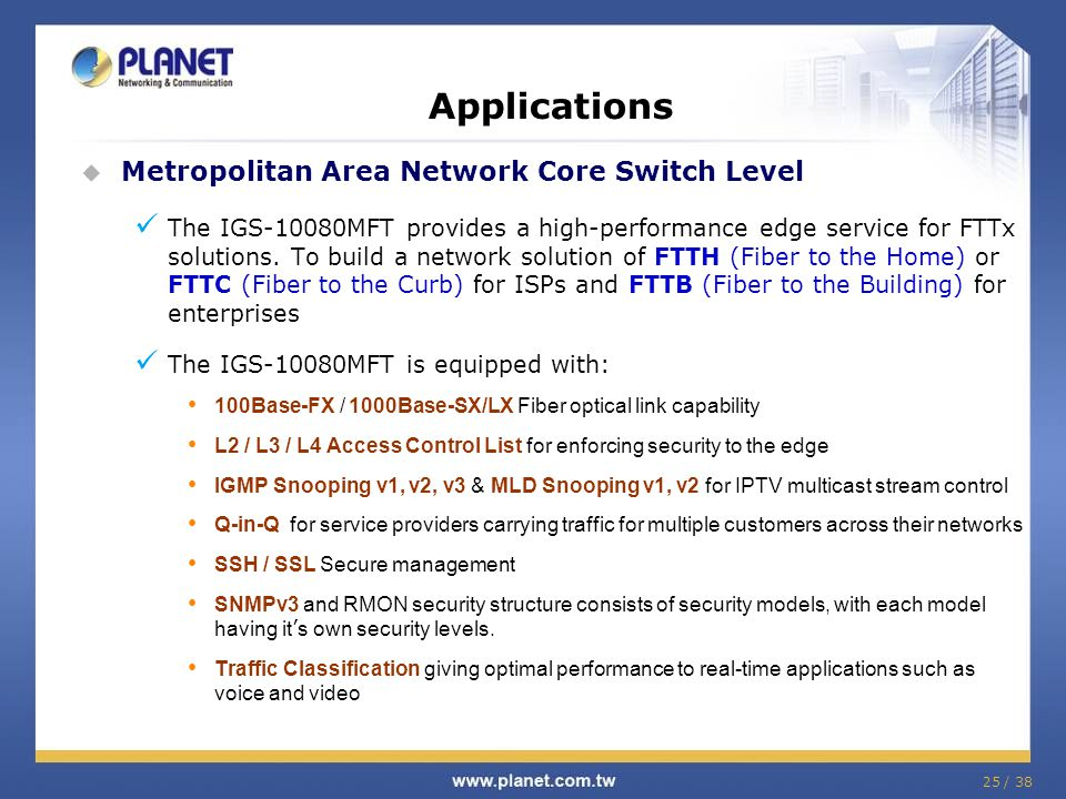 Applications Metropolitan Area Network Core Switch Level