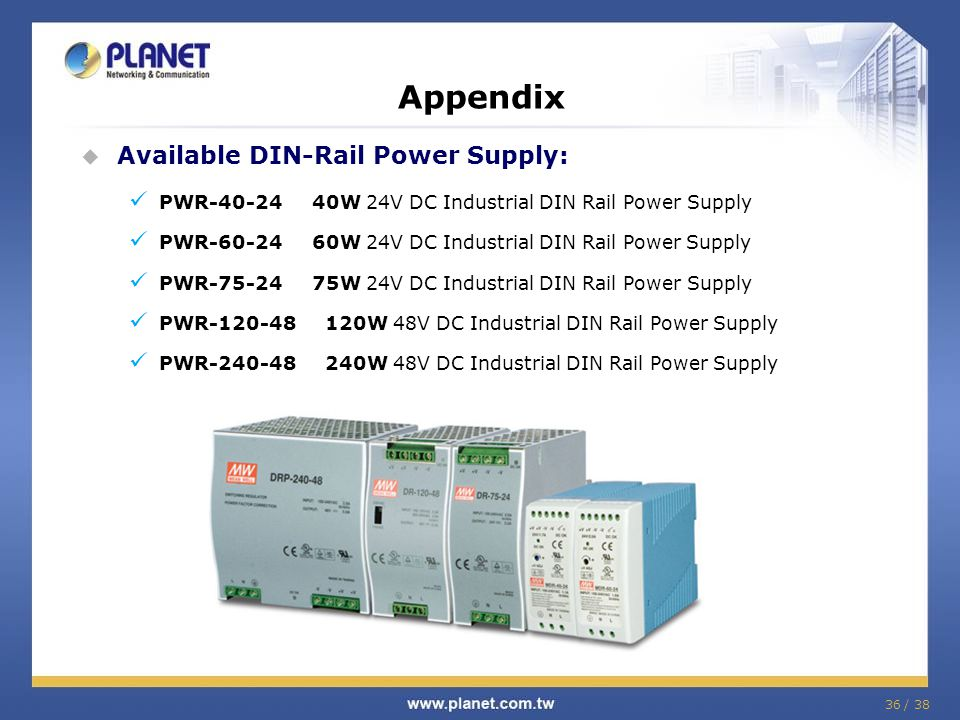 Appendix Available DIN-Rail Power Supply: