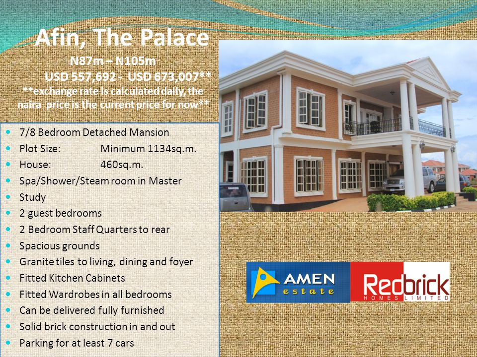 Afin, The Palace N87m – N105m USD 557,692 - USD 673,007