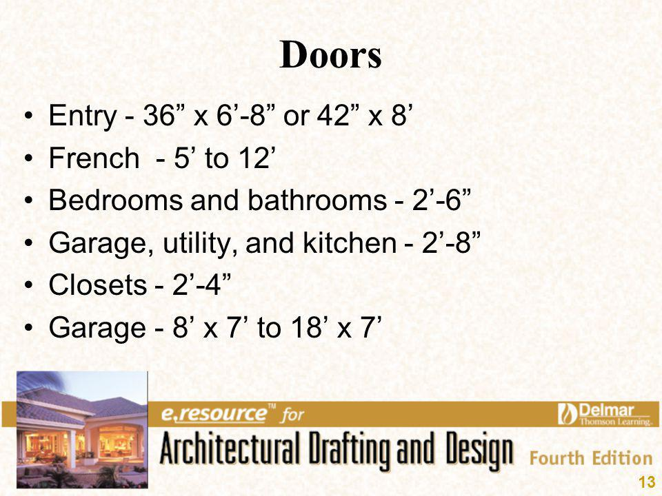 Doors Entry - 36 x 6'-8 or 42 x 8' French - 5' to 12'