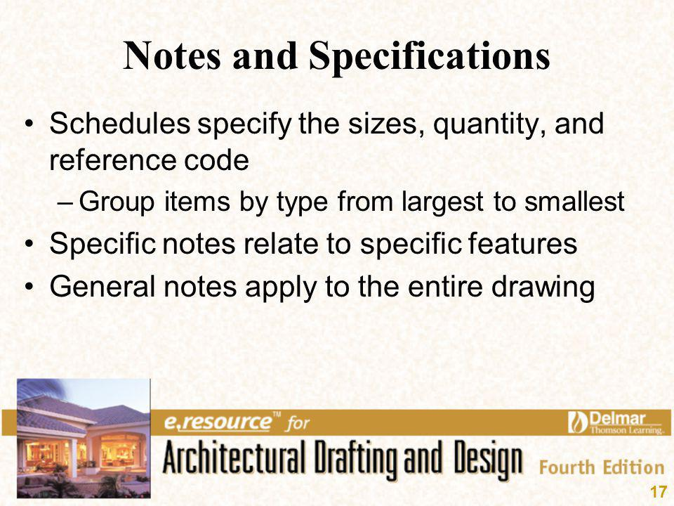 Notes and Specifications
