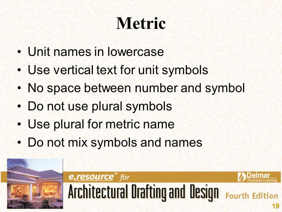 Metric Unit names in lowercase Use vertical text for unit symbols
