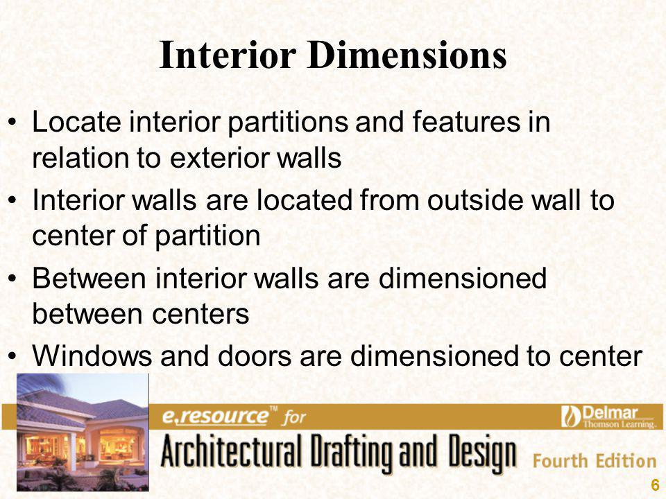 Interior Dimensions Locate interior partitions and features in relation to exterior walls.