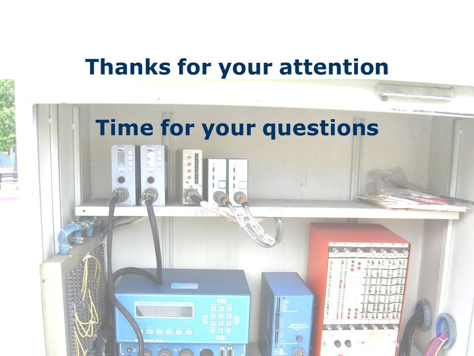 Thanks for your attention Time for your questions