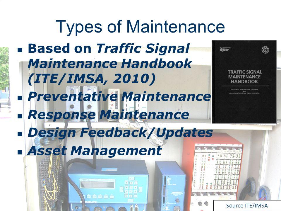 Types of Maintenance Based on Traffic Signal Maintenance Handbook (ITE/IMSA, 2010) Preventative Maintenance.