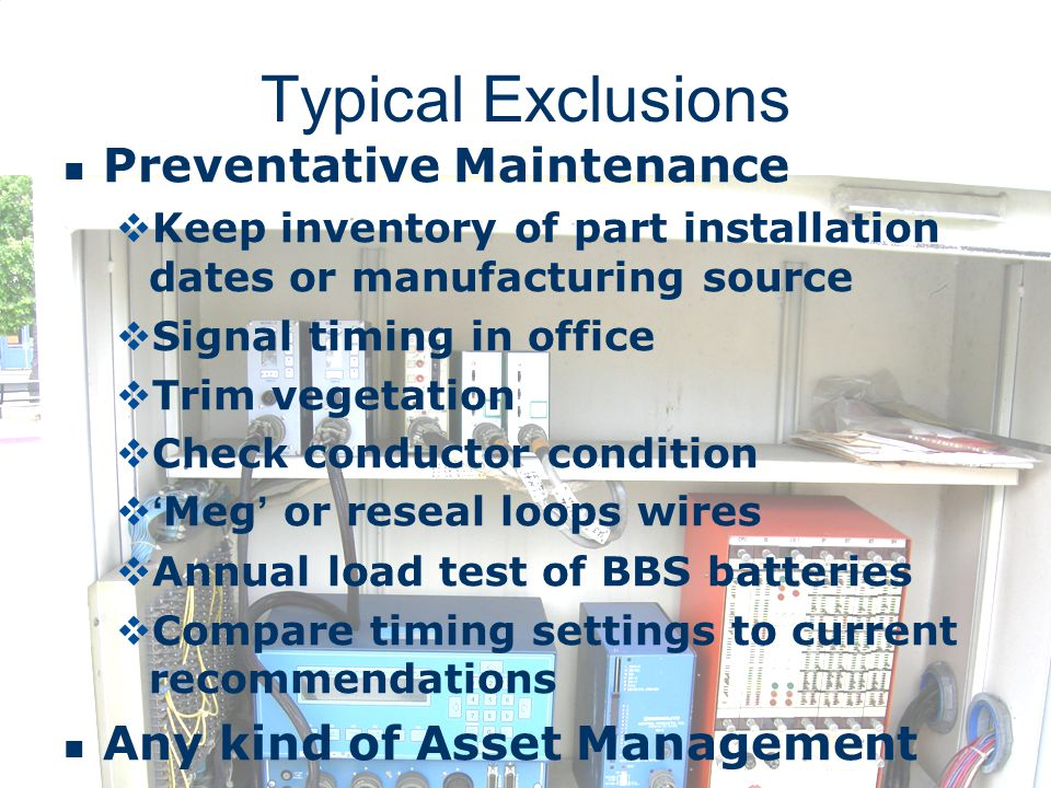 Typical Exclusions Preventative Maintenance