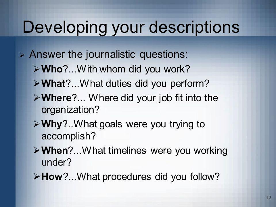 Developing your descriptions