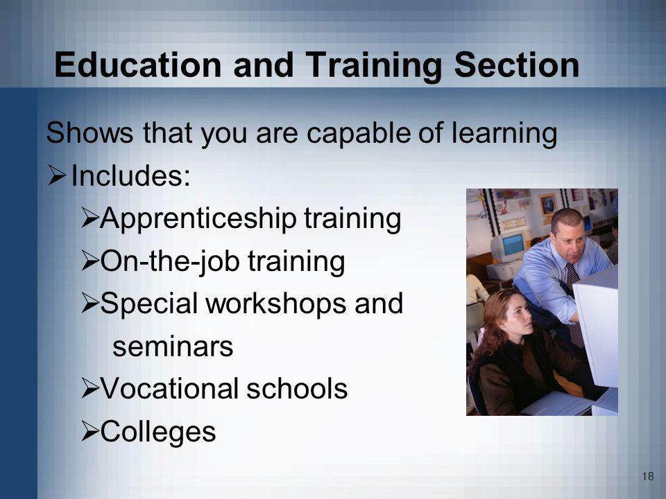 Education and Training Section