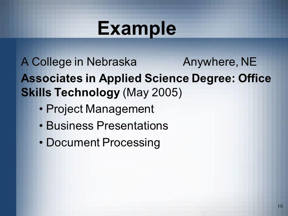 Example A College in Nebraska Anywhere, NE