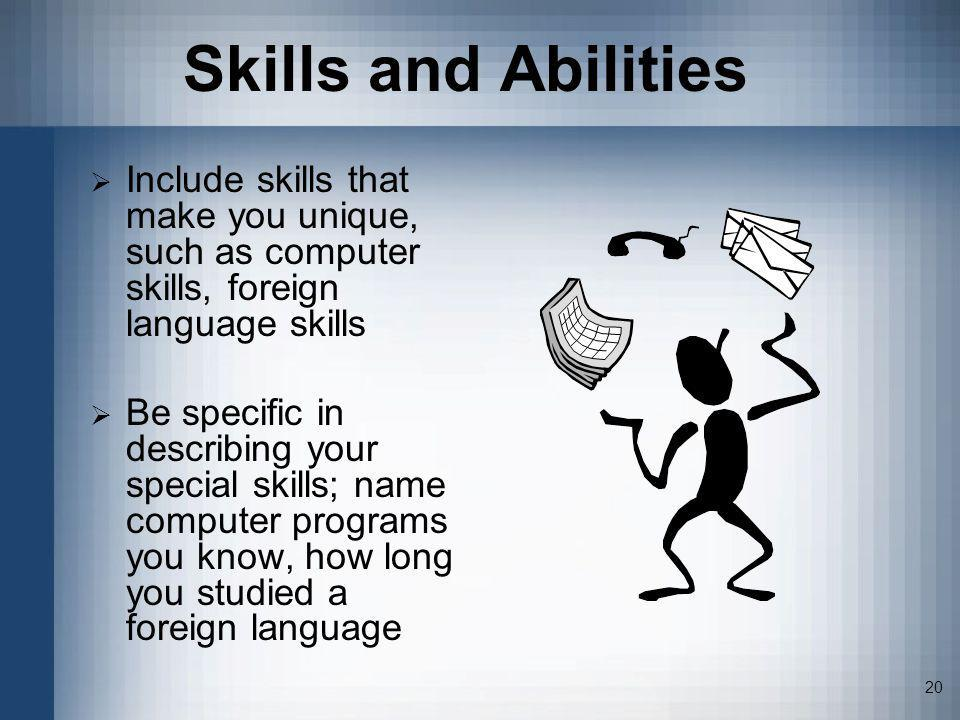 special skills and abilities