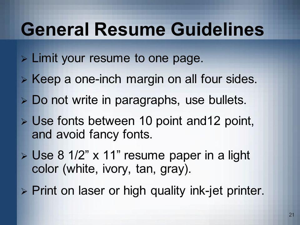General Resume Guidelines