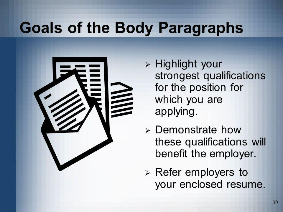 Goals of the Body Paragraphs