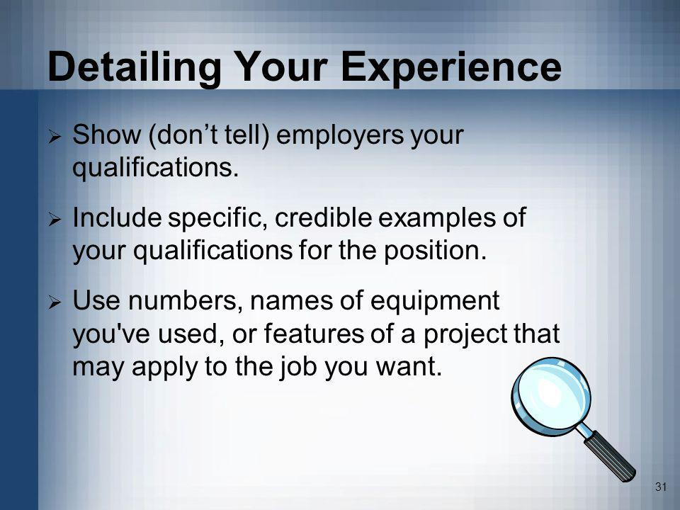 Detailing Your Experience