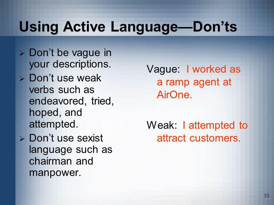 Using Active Language—Don'ts