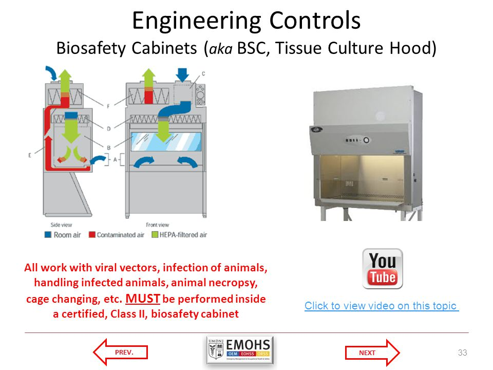 Engineering Controls Biosafety Cabinets (aka BSC, Tissue Culture Hood)