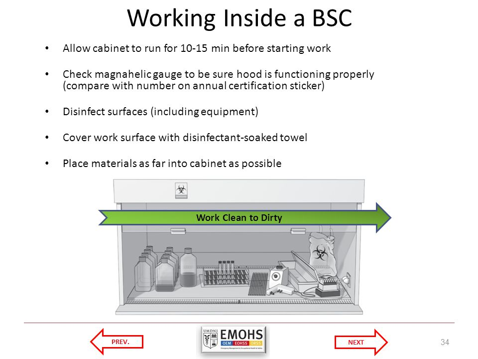 Working Inside a BSC Allow cabinet to run for min before starting work.