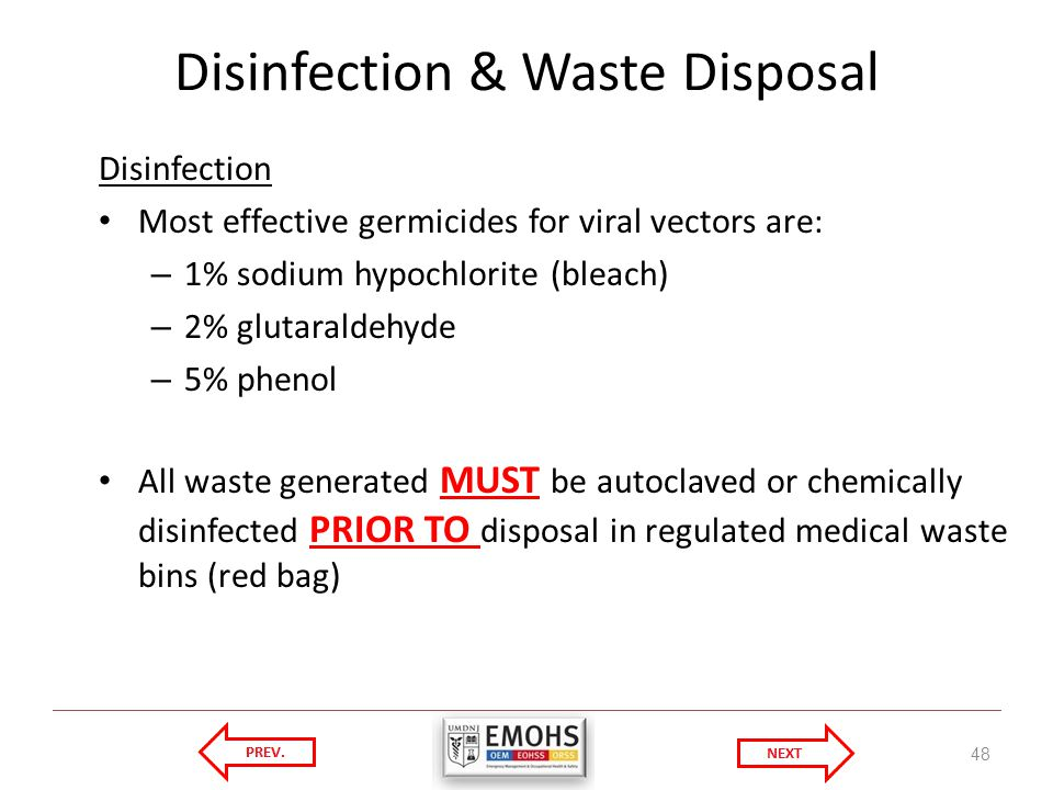Disinfection & Waste Disposal