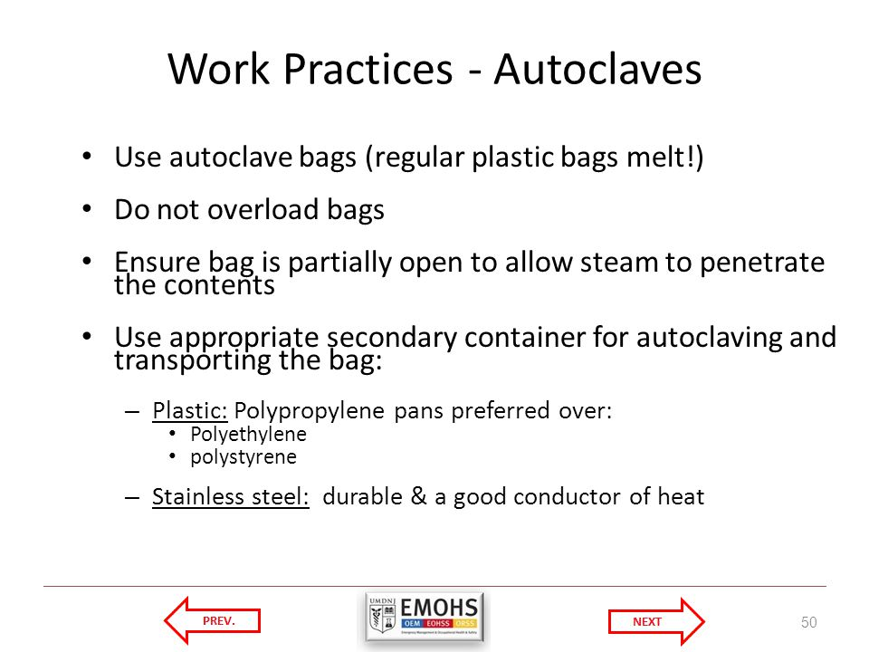 Work Practices - Autoclaves