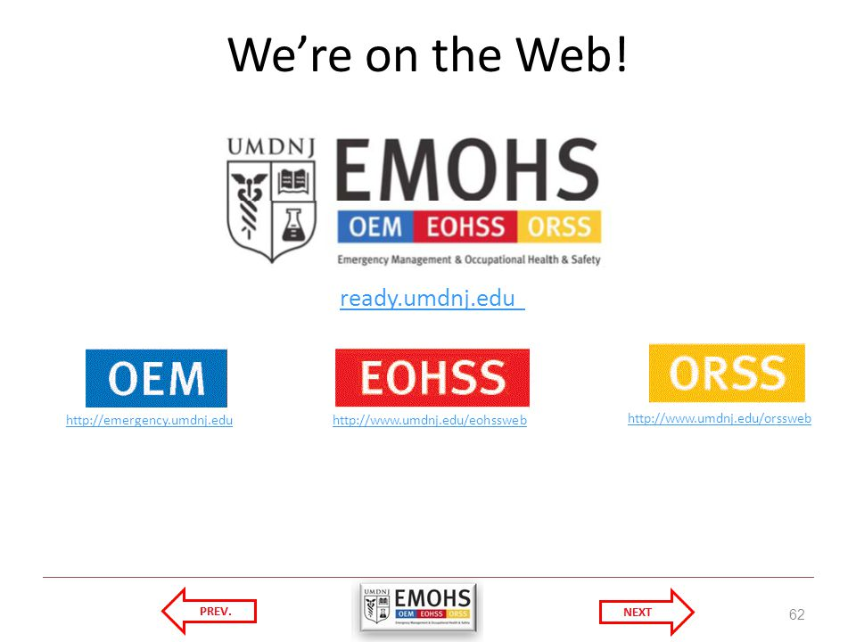 We're on the Web! ready.umdnj.edu