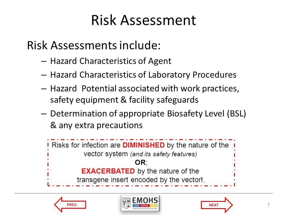 Risk Assessment Risk Assessments include: