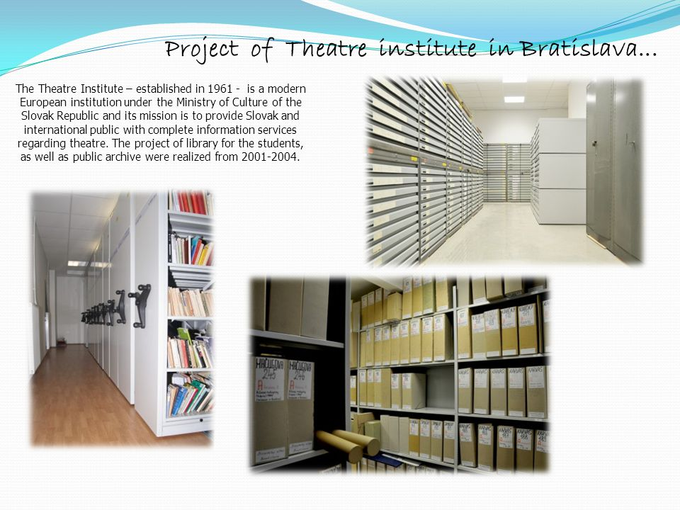 Project of Theatre institute in Bratislava...