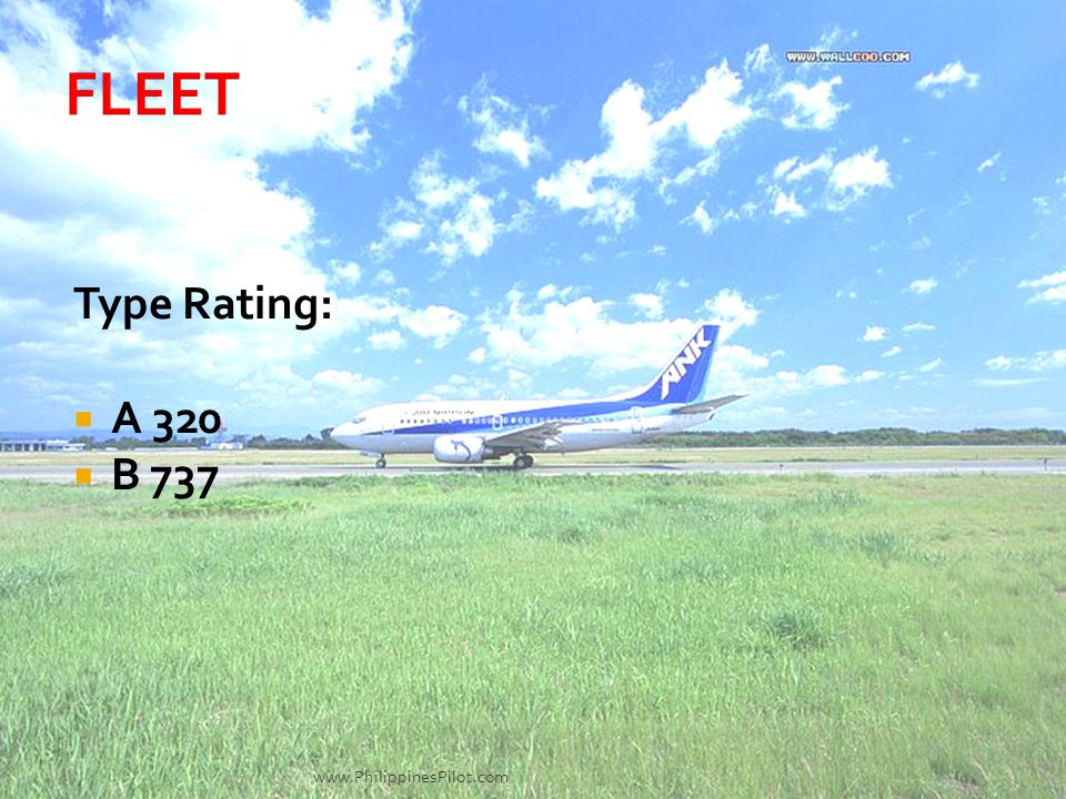 FLEET Type Rating: A 320 B 737 www.PhilippinesPilot.com