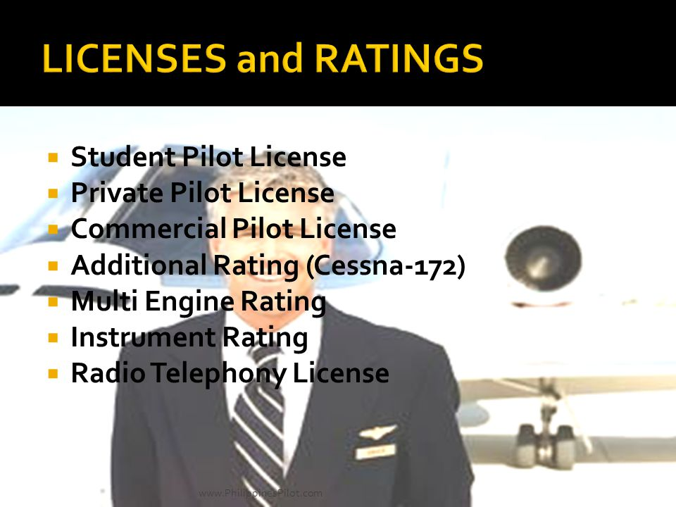 LICENSES and RATINGS Student Pilot License Private Pilot License