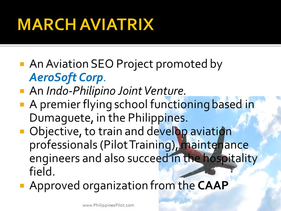 MARCH AVIATRIX An Aviation SEO Project promoted by AeroSoft Corp.