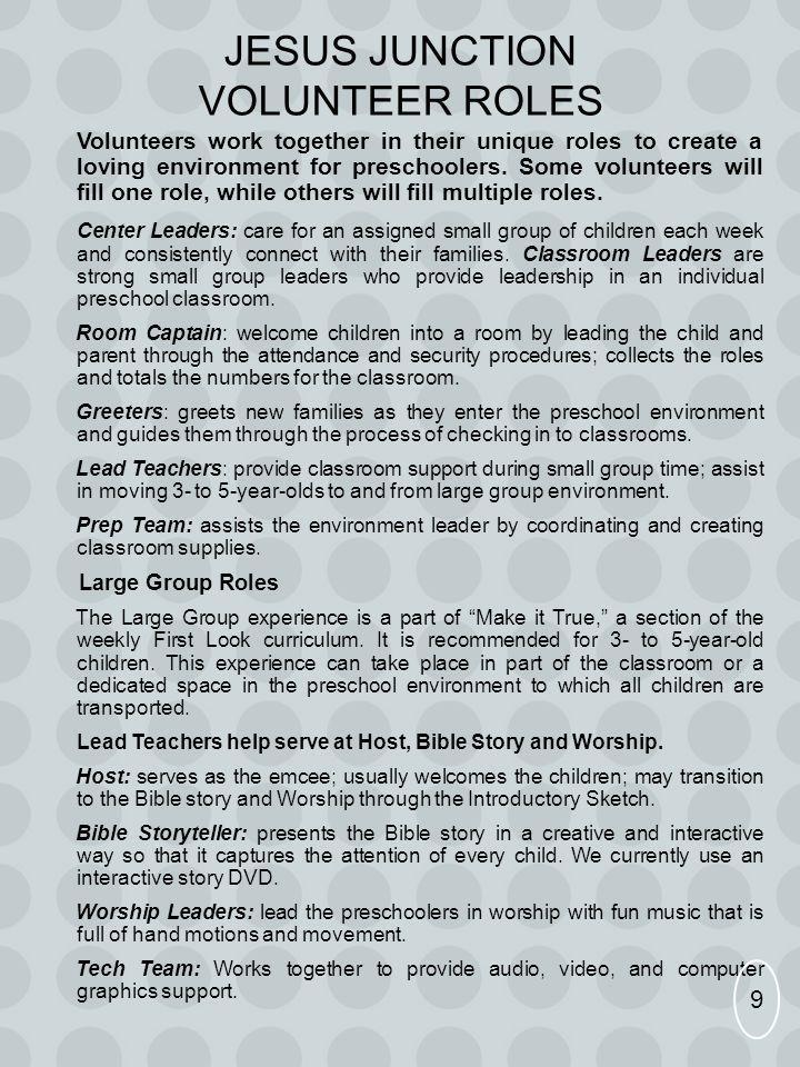 Jesus Junction Volunteer Roles