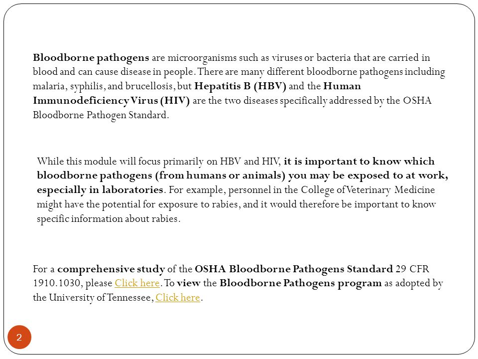 Bloodborne pathogens are microorganisms such as viruses or bacteria that are carried in blood and can cause disease in people. There are many different bloodborne pathogens including malaria, syphilis, and brucellosis, but Hepatitis B (HBV) and the Human Immunodeficiency Virus (HIV) are the two diseases specifically addressed by the OSHA Bloodborne Pathogen Standard.