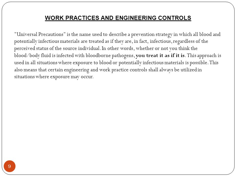 WORK PRACTICES AND ENGINEERING CONTROLS